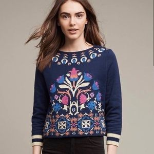Anthro Floral Sweater